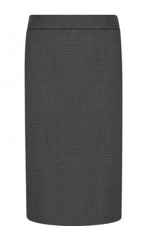 Шерстная юбка-карандаш с разрезом BOSS