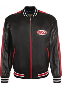 Кожаная куртка-бомбер на молнии Gucci