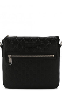 Кожаная сумка-планшет с тиснением Signature Gucci