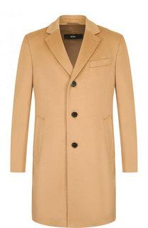 Однобортное пальто из смеси шерсти и кашемира BOSS