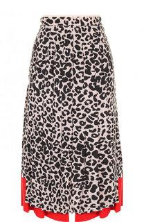 Шелковая юбка в складку с принтом No. 21