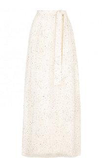 Шелковая юбка-макси с поясом и декоративной отделкой St. John