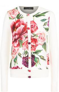 Шелковый кардиган с принтом и декоративными пуговицами Dolce & Gabbana