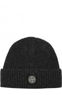 Шерстяная шапка фактурной вязки с логотипом бренда Stone Island