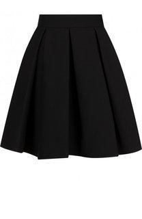 Однотонная мини-юбка из смеси шерсти и шелка Valentino