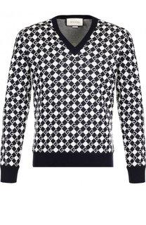 Шерстяной пуловер с принтом Gucci