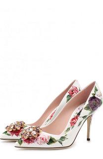 Лаковые туфли Bellucci с цветочным принтом и брошью Dolce & Gabbana