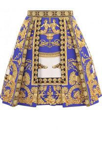 Мини-юбка из смеси хлопка и шелка в складку Versace