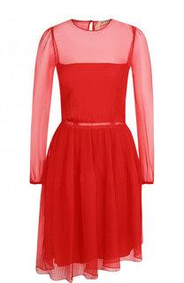 Однотонное мини-платье из шелка No. 21