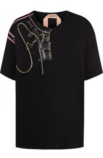 Хлопковая футболка с круглым вырезом и декоративной отделкой No. 21