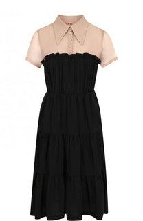 Приталенное мини-платье с оборками No. 21