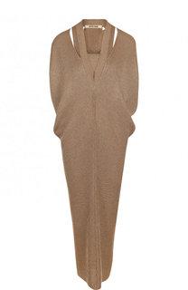 Однотонное вязаное платье-миди с V-образным вырезом Roberto Cavalli