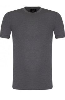 Однотонная футболка из вискозы Giorgio Armani