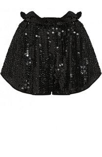 Шелковые мини-шорты с пайетками Valentino