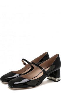 Лаковые туфли на декорированном каблуке Miu Miu