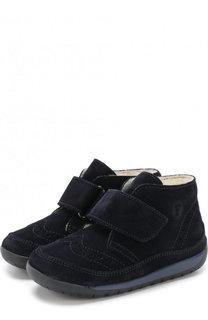 Замшевые ботинки с меховой отделкой и застежками велькро Falcotto