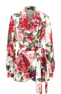 Шелковая блуза с запахом и принтом Dolce & Gabbana