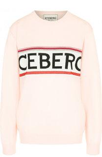Шерстяной пуловер с круглым вырезом и контрастной вышивкой Iceberg