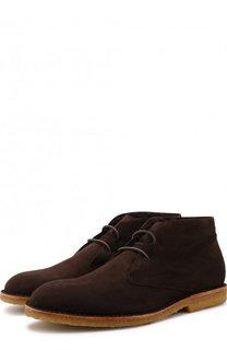 Замшевые ботинки на шнуровке с внутренней меховой отделкой Brioni