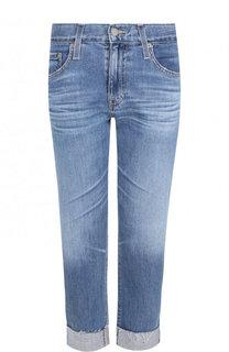 Укороченные джинсы с потертостями и отворотами Ag