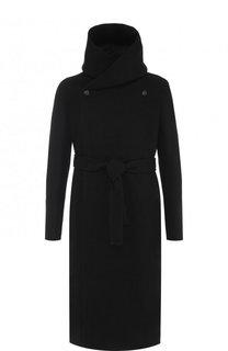 Удлиненное шерстяное пальто с поясом и капюшоном Rick Owens