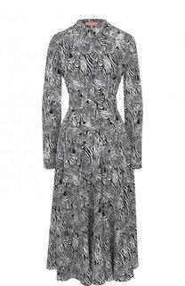 Приталенное шелковое платье-миди с принтом Michael Kors Collection