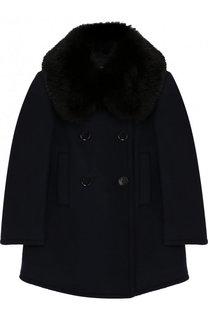 Двубортное шерстяное пальто с воротником Emporio Armani