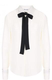 Шелковая блуза с контрастным бантом Loro Piana