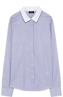 Хлопковая блуза с контрастным воротником Dal Lago