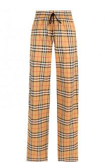 Хлопковые брюки с эластичным поясом и контрастными лампасами Burberry