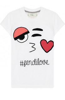 Хлопковая футболка с принтом Fendi