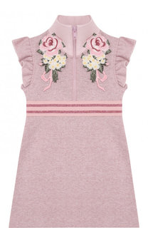 Хлопковое мини-платье с воротником-стойкой и аппликациями Monnalisa