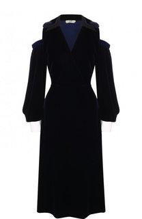 Бархатное платье-миди с V-образным вырезом и контрастными манжетами Fendi