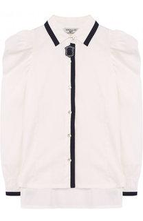 Хлопковая блуза с контрастной отделкой Monnalisa