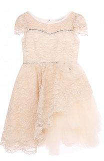 Платье с кружевной отделкой и ассиметричным подолом Monnalisa