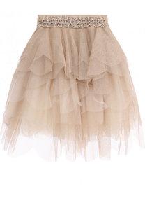 Многослойная юбка со стразами на поясе Monnalisa