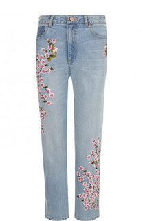 Укороченные джинсы с декоративной вышивкой Alice + Olivia