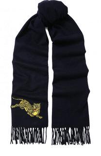 Шерстяной шарф с бахромой Kenzo