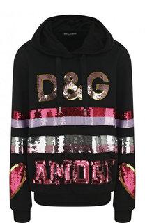 Хлопковый пуловер с капюшоном и пайетками Dolce & Gabbana