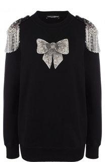 Хлопковый пуловер с декоративной отделкой Dolce & Gabbana