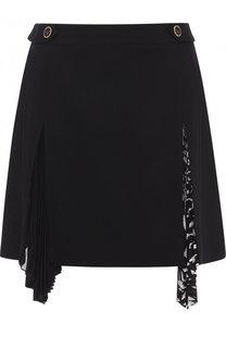 Шерстяная мини-юбка с плиссированной вставкой Givenchy