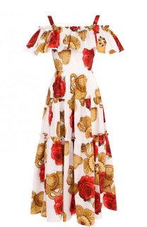 Хлопковое платье-миди с оборками и принтом Dolce & Gabbana