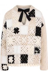 Шерстяной пуловер фактурной вязки с кожаной отделкой Altuzarra