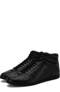 Высокие кожаные кеды на шнуровке с тиснением Signature Gucci