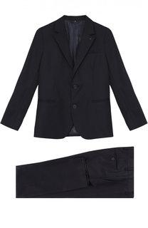 Шерстяной костюм с пиджаком на двух пуговицах Armani Junior