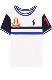 Хлопковая футболка с логотипом сборной Италии Polo Ralph Lauren