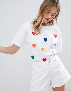 Oversize-футболка с вышивкой Monki - Белый