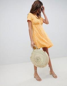 Короткое приталенное платье на пуговицах с цветочным принтом ASOS DESIGN - Мульти