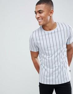 Серая футболка в полоску Burton Menswear - Темно-синий