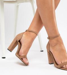 Босоножки для широкой стопы на каблуке ASOS DESIGN - Бежевый